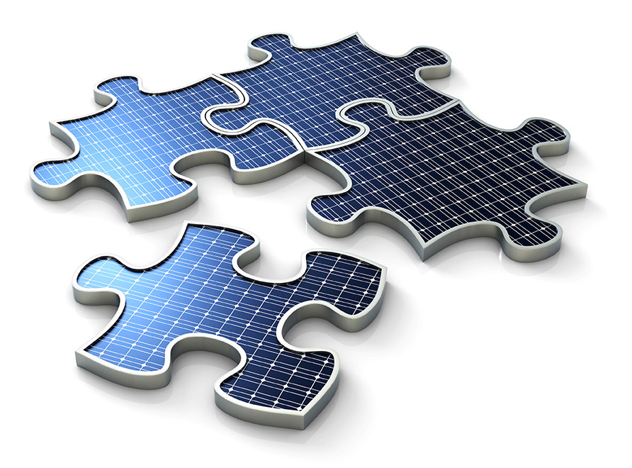 Bild eines Solarpanels als Puzzle
