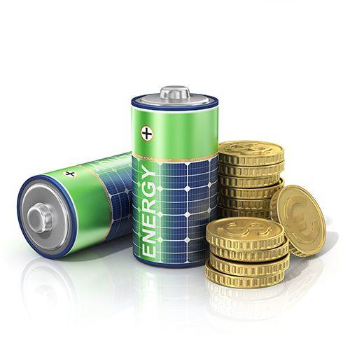 Abbildung grüner Batterien mit Solarpanelaufdruck