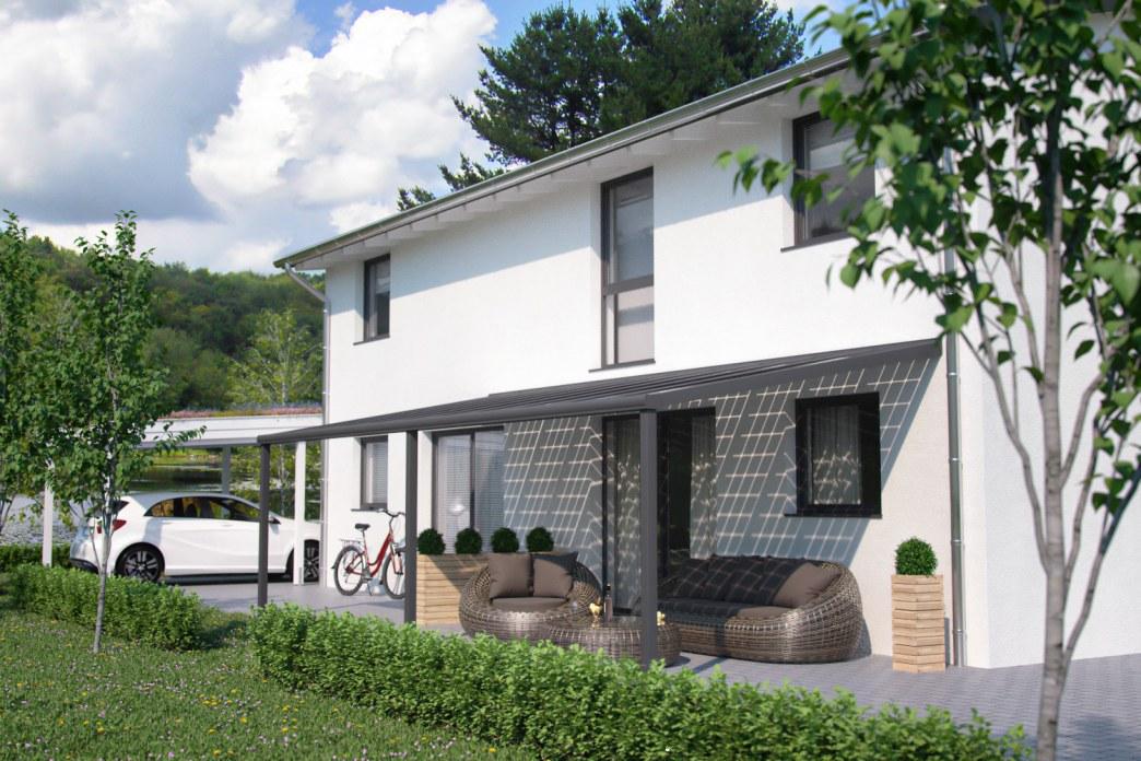 Bild einer Hausseite mit Terrasse und Carport