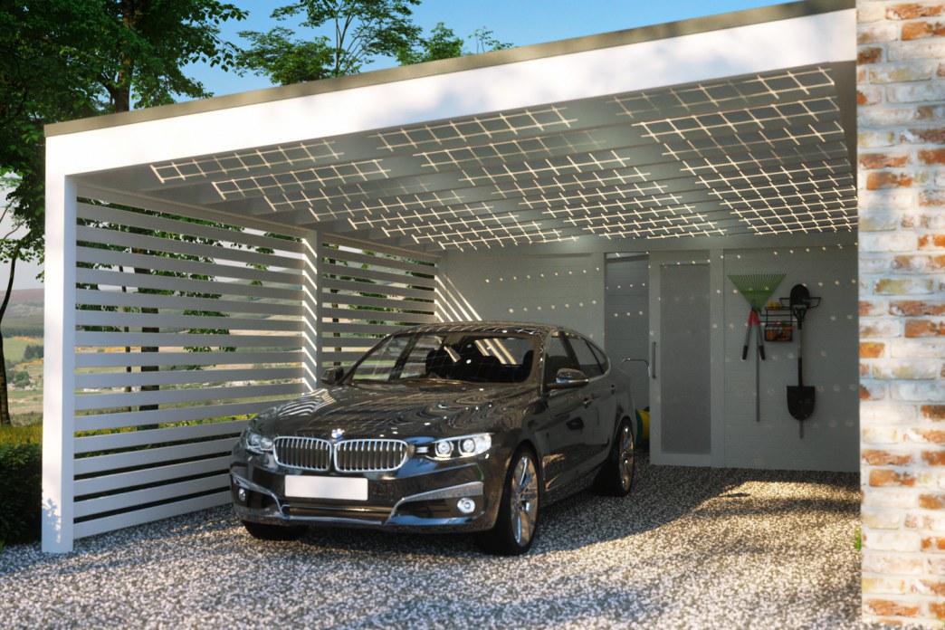 Carport ohne kopfband ger teraum seitenwand 2 for Solar carport preise